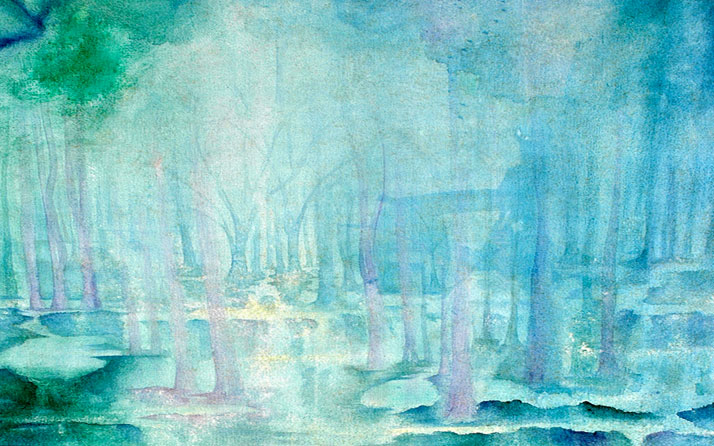 Forest depicted in watercolor artwork by Sandra Epstein